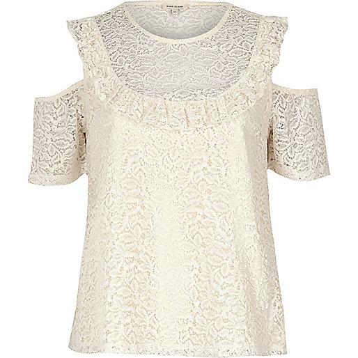 Cream lace frill bib cold shoulder top