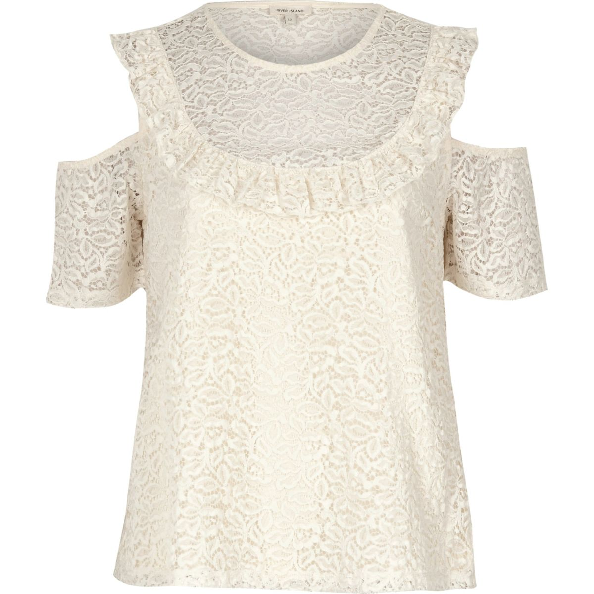 Cream lace frill bib cold shoulder top
