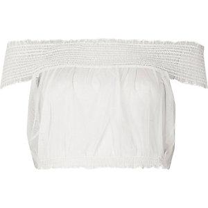 White shirred tulle bardot crop top