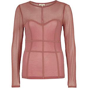 Top en tulle rose foncé à coutures effet corset