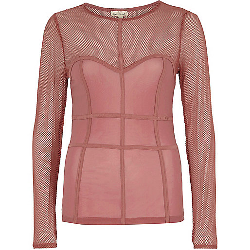 Dark pink mesh corset seam top