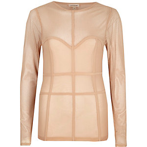 Beige mesh corset seam top