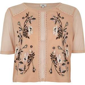 Light pink mesh floral stitch embroidered top