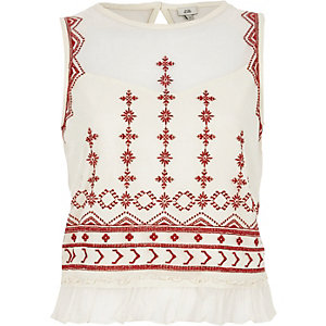 Cream mesh embroidered frill hem tank top