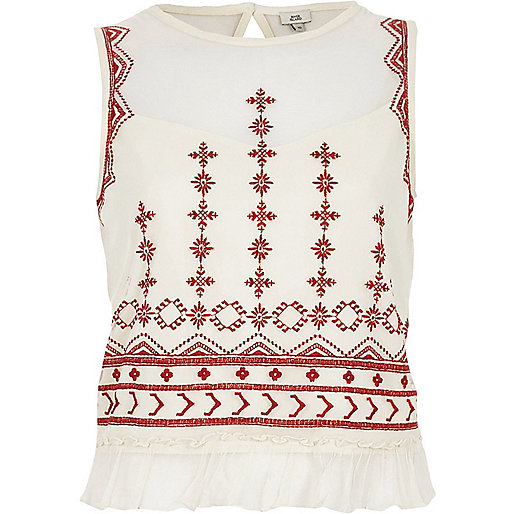 Cream mesh embroidered frill hem tank top