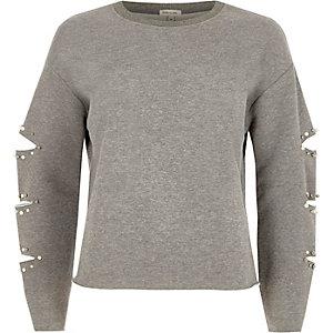 Grey pearl embellished slashed sweatshirt