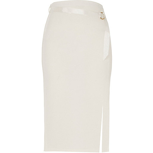 Cream D-ring belt pencil skirt