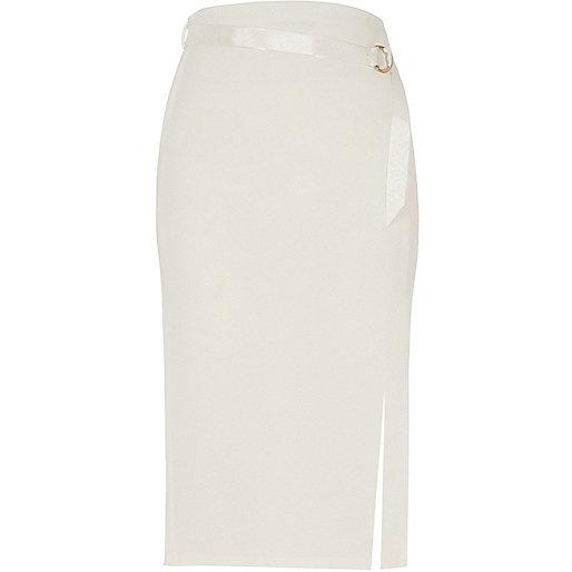 Cream D-ring belt pencil skirt