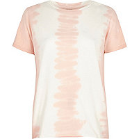 Pink tie dye distressed T-shirt