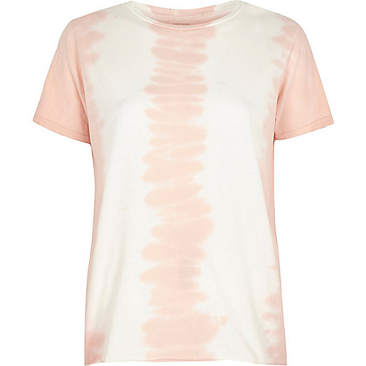 Pink tie dye distressed T-shirt