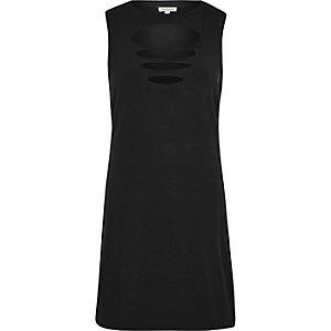 Black slash front sleeveless dress