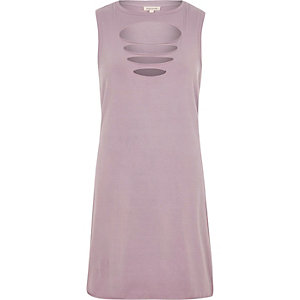 Purple slash front sleeveless dress