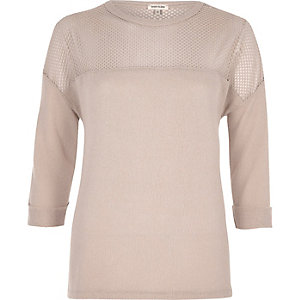 Light pink mesh panel top