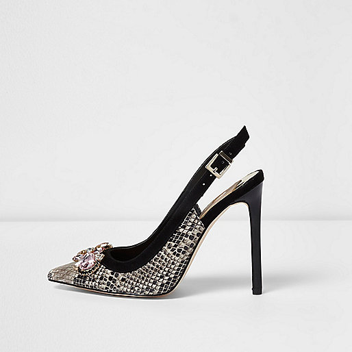 Beige snake embellished slingback court shoes