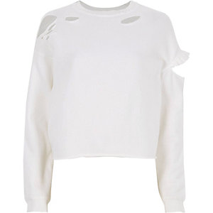 White slashed long sleeve sweatshirt