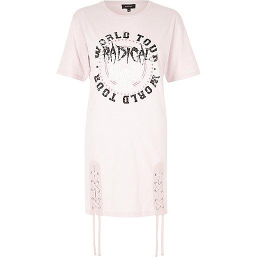 Pink 'radical' band print lace-up T-shirt