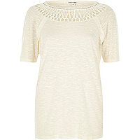 Beige crochet neck T-shirt