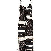 Zwarte midi-slipdress met ketting- en sjaalprint