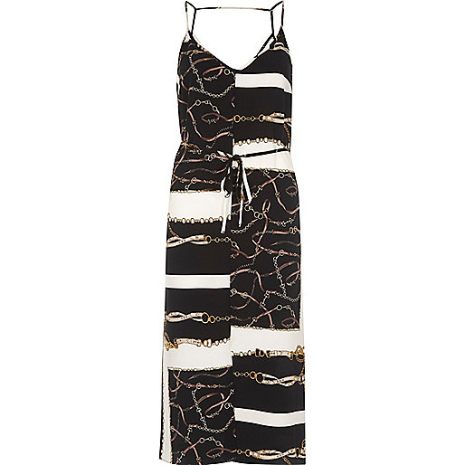 Black chain scarf print midi slip dress