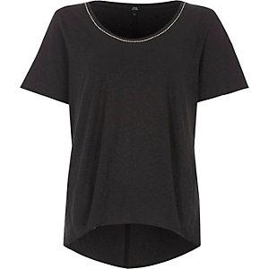 T-shirt oversize noir à bordure chaîne