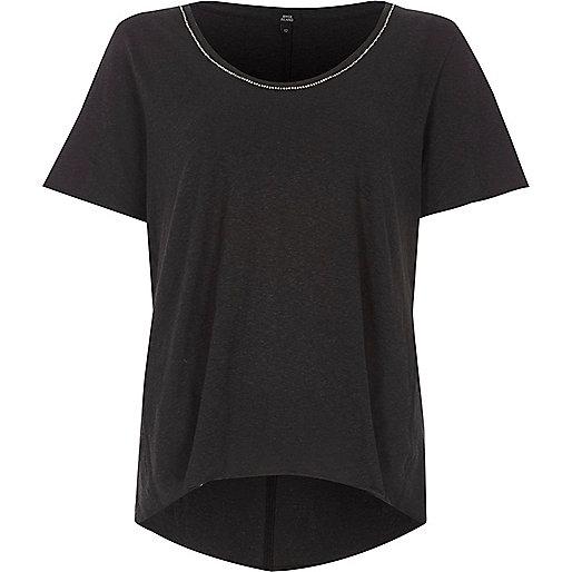 Dark grey chain trim oversized T-shirt