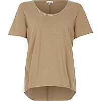 Beige oversized T-shirt met versiering