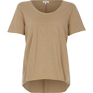 Beige chain trim oversized T-shirt