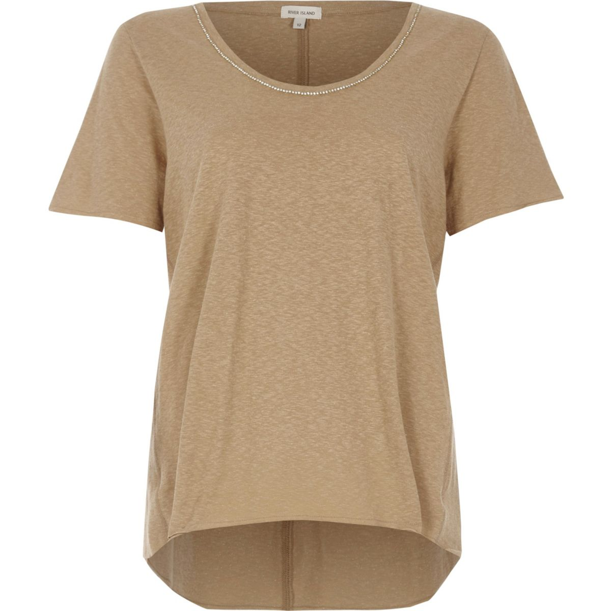 Beige chain trim oversized T-shirt