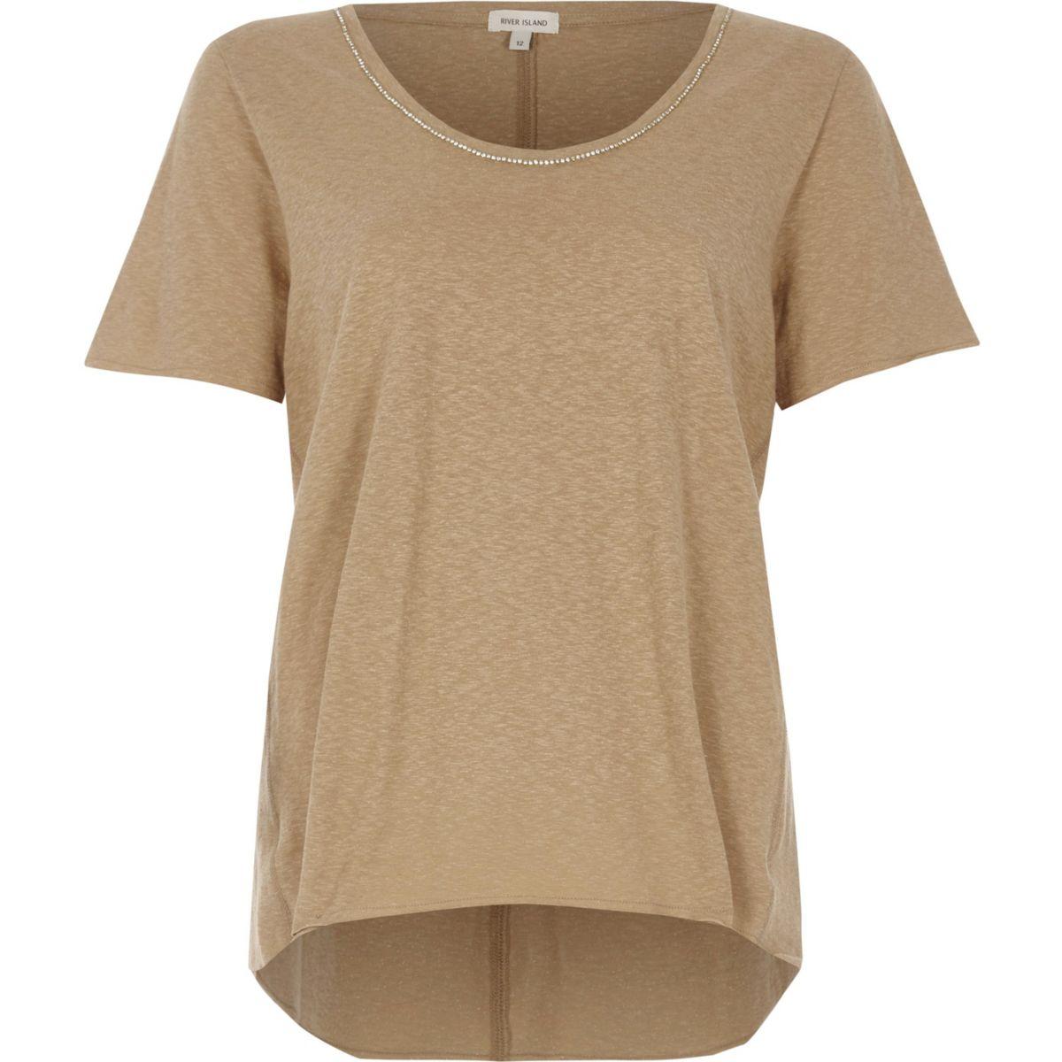 T-shirt oversize beige à bordure chaîne