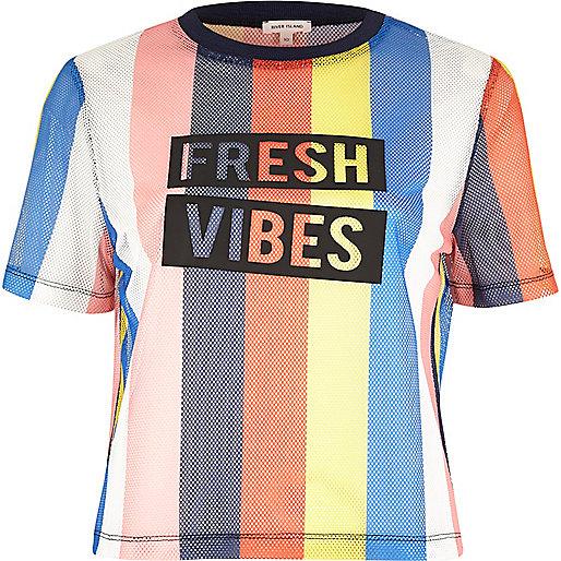 Pink 'fresh vibes' stripe mesh T-shirt