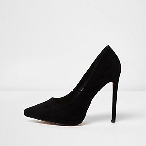 Black platform court shoes