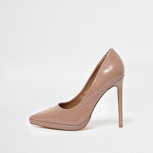 Pink patent platform court shoes