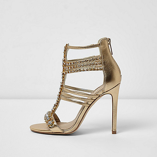 Gold metallic embellished caged sandals