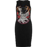 Schwarzes Bodycon-Kleid mit Spitzendetails