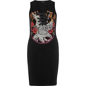 Black band print lace detail bodycon dress