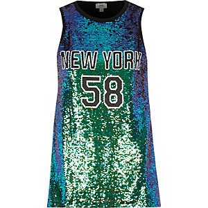 Green sequin 'New York' tank top