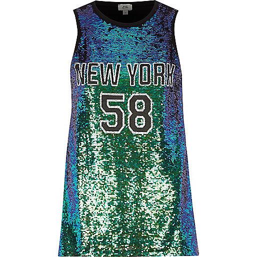 Green sequin 'New York' tank top