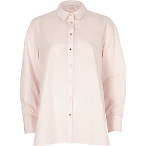 Light pink tie back oversized shirt