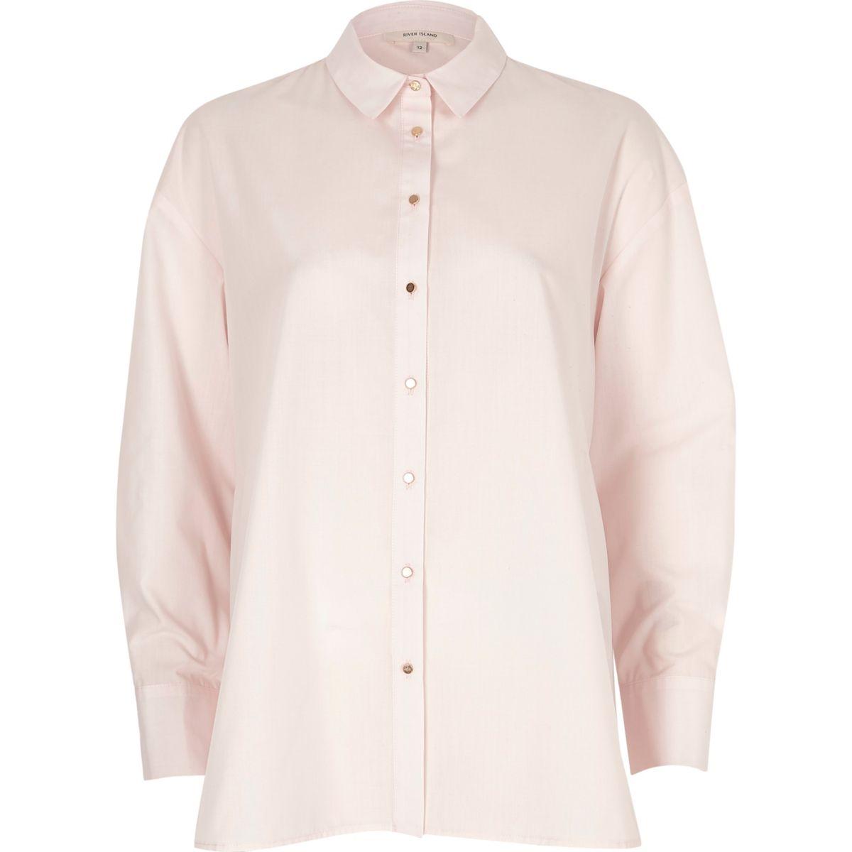 Light pink tie back oversized shirt