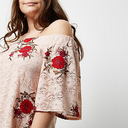 Plus light pink lace embroidered bardot top