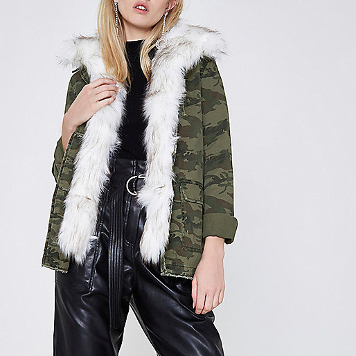 Khaki green camo fur trim army jacket