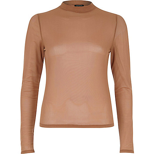 Dark beige sheer mesh turtle neck top