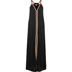 Black stripe print burnout maxi dress