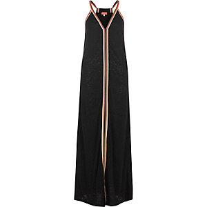 Robe longue rayée noire effet usé
