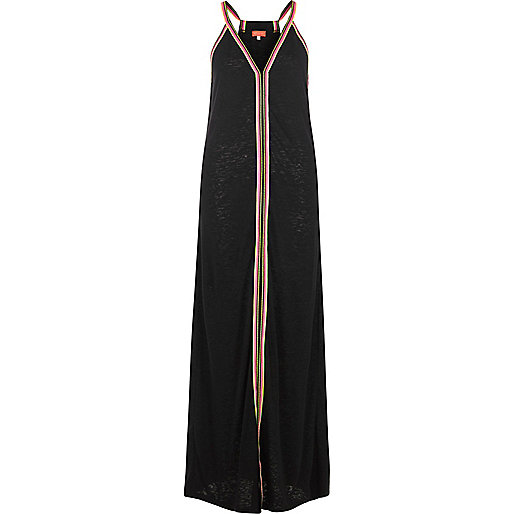 Black stripe print burnout maxi dress