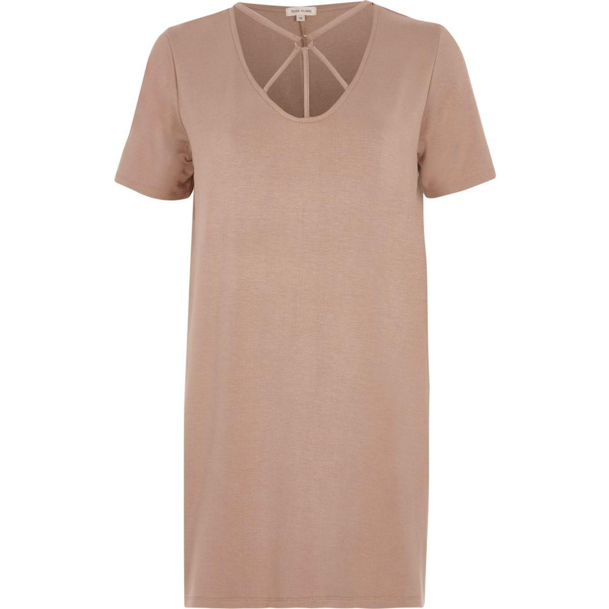 Pink harness neck oversized T-shirt