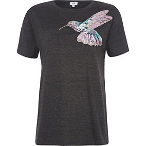 T-shirt gris chiné motif oiseaux à sequins