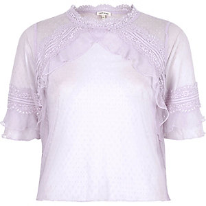 Light purple dobby mesh frill top