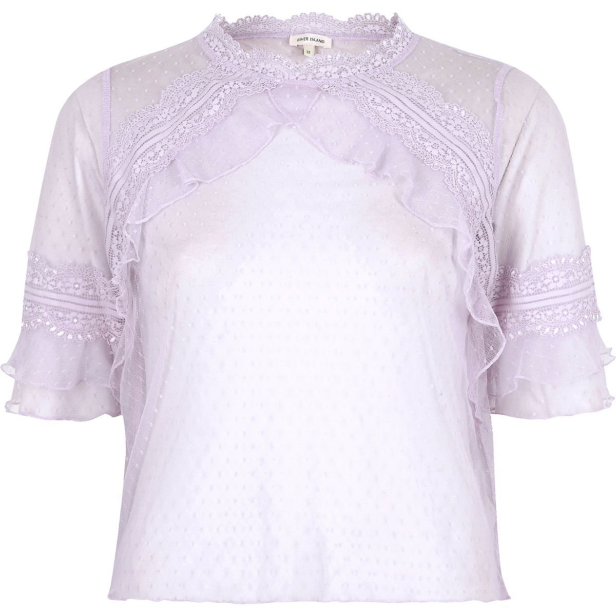 Light purple dobby mesh frill top