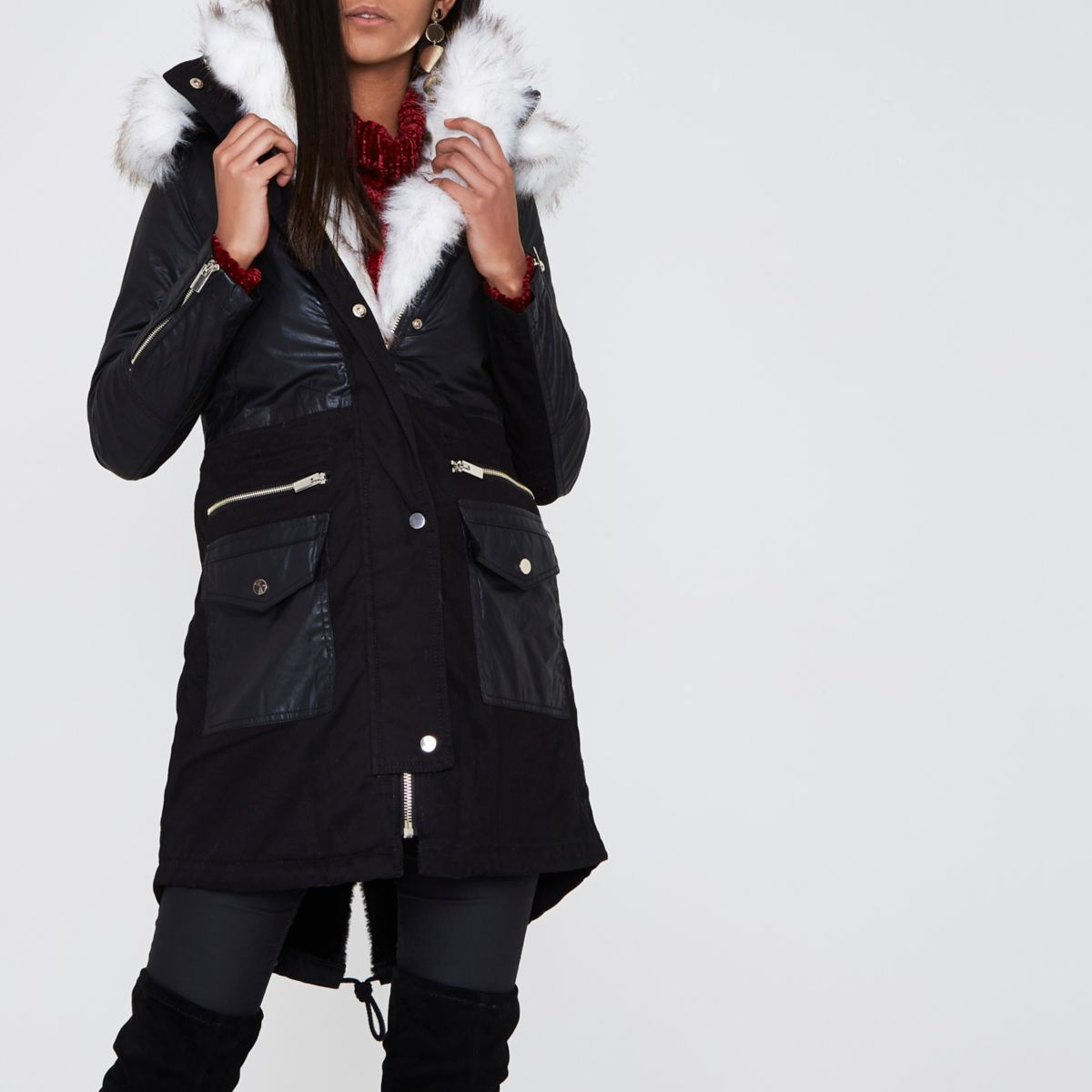 Black faux fur collar parka coat